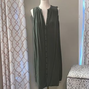 Old Navy Sleeveless Olive Button Down Dress